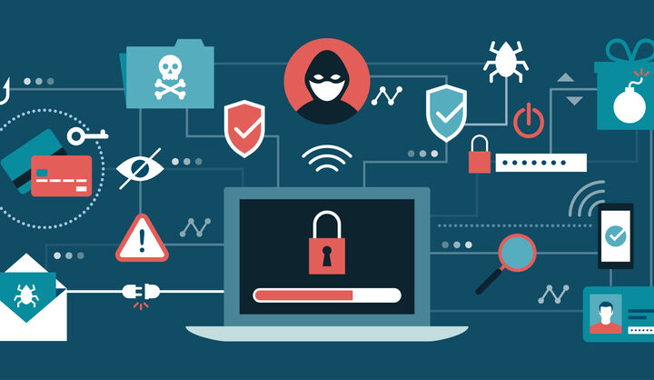 Cyber security, antivirus, hackers and malware concepts with secure laptop at center